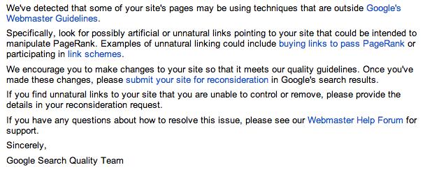 Unnatürliche Linkwarnung - Webmaster Tools